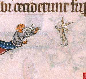Rabbit Marginalia - London - British Library - Add 49622 - Gorleston Psalter