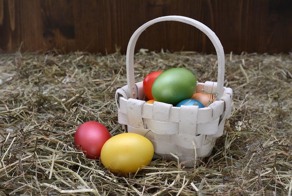 Easter basket filled with coloured eggs