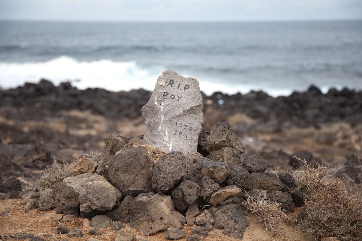 Pet grave by the ocean.
